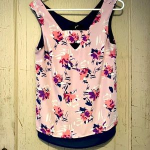 Pink Floral Sleeveless Blouse Size S